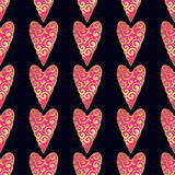 Seamless vector gold pattern with hearts. Vector illustration Stock Image