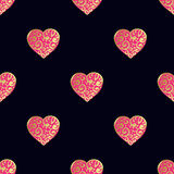 Seamless vector gold pattern with hearts. Vector illustration Stock Photo