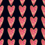 Seamless vector gold pattern with hearts. Vector illustration Royalty Free Stock Images