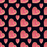 Seamless vector gold pattern with hearts. Vector illustration Royalty Free Stock Photos