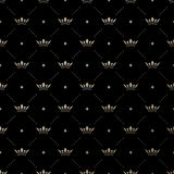Seamless vector gold pattern with king crowns Stock Photos