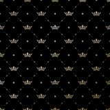 Seamless vector gold pattern with king crowns Stock Image