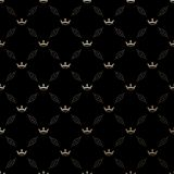 Seamless vector gold pattern with king crowns Stock Photo