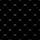 Seamless vector gold pattern with king crowns Royalty Free Stock Photography