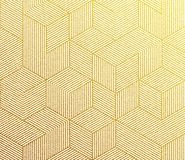 Seamless vector golden pattern texture with abstract gold hexagon grid 3d cube structure. Stock Photography