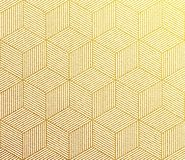 Seamless vector golden pattern texture with abstract hexagon grid 3d cube structure. Royalty Free Stock Photo