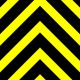 Seamless vector graphic of black upward pointing chevrons on a yellow background. This signifies danger or a hazard stock illustration