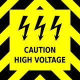 Seamless vector graphic of black upward pointing chevrons on a yellow background with the wording Caution High Voltage royalty free illustration