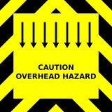 Seamless vector graphic of black upward pointing chevrons on a yellow background with the wording Caution Overhead Hazard vector illustration