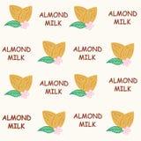Seamless pattern almond milk vector illustration royalty free stock photos