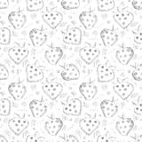 Seamless vector gray pattern with hand drawn strawberries and scribbles on the white background. Stock Photo