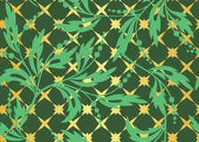 Seamless vector green pattern with golden tracery Royalty Free Stock Images