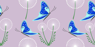 Seamless vector grey pattern with dandelions and blue butterflies on the grey Stock Image