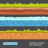 Seamless vector ground and landscape. Game design elements. EPS 10 vector illustration
