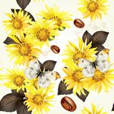 Seamless vector grunge wallpaper pattern with yellow flowers Royalty Free Stock Photo