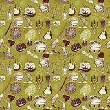 Seamless Halloween colourful pattern with festive Halloween illustrations. Design for wrapping paper, paper packaging. Seamless Vector Halloween colourful orange Stock Image