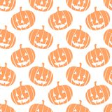 Seamless vector halloween pattern with pumpkins Stock Images