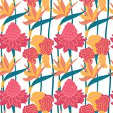 Seamless vector hand-drawn abstract pattern with tropical leaves and flowers in scandinavian style royalty free illustration