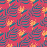 Seamless vector hand-drawn abstract pattern with tropical leaves and flowers in scandinavian style stock illustration