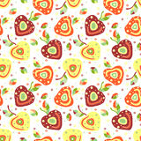 Seamless vector hand drawn childish pattern, border with fruits. Cute childlike cherry with leaves, seeds, drops. Doodle, sketch, Stock Image