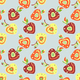 Seamless vector hand drawn childish pattern, border with fruits. Cute childlike cherry with leaves, seeds, drops. Doodle, sketch, Stock Images