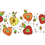 Seamless vector hand drawn childish pattern, border with fruits. Cute childlike cherry with leaves, seeds, drops. Doodle, sketch, Stock Photo