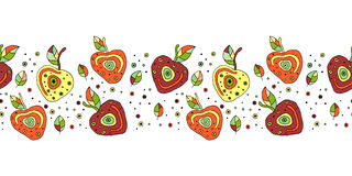 Seamless vector hand drawn childish pattern, border with fruits. Cute childlike cherry with leaves, seeds, drops. Doodle, sketch,. Cartoon style background Stock Photography