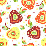 Seamless vector hand drawn childish pattern, border with fruits. Cute childlike cherry with leaves, seeds, drops. Doodle, sketch, Stock Photography