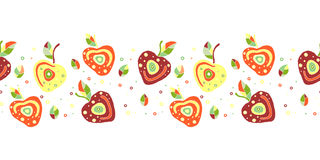 Seamless vector hand drawn childish pattern, border with fruits. Cute childlike cherry with leaves, seeds, drops. Doodle, sketch, Royalty Free Stock Image
