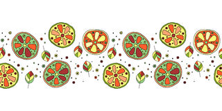 Seamless vector hand drawn childish pattern, border, with fruits. Cute childlike lime, lemon, orange, grapefruit with leaves, seed Stock Photography