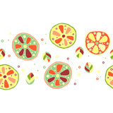 Seamless vector hand drawn childish pattern, border, with fruits. Cute childlike lime, lemon, orange, grapefruit with leaves, seed Royalty Free Stock Images