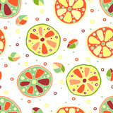 Seamless vector hand drawn childish pattern, border, with fruits. Cute childlike lime, lemon, orange, grapefruit with leaves, seed Royalty Free Stock Photos