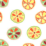 Seamless vector hand drawn childish pattern, border, with fruits. Cute childlike lime, lemon, orange, grapefruit with leaves, seed Royalty Free Stock Photography