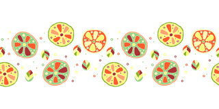 Seamless vector hand drawn childish pattern, border, with fruits. Cute childlike lime, lemon, orange, grapefruit with leaves, seed Stock Images