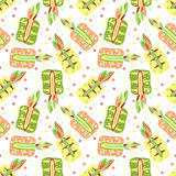 Seamless vector hand drawn childish pattern, border with fruits. Cute childlike pineapple with leaves, seeds, drops. Doodle, sketc Stock Image
