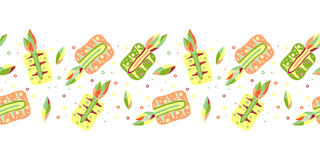 Seamless vector hand drawn childish pattern, border with fruits. Cute childlike pineapple with leaves, seeds, drops. Doodle, sketc Royalty Free Stock Photo