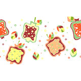 Seamless vector hand drawn childish pattern, border with fruits. Cute childlike pomegranate with leaves, seeds, drops. Doodle, ske Stock Image
