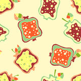 Seamless vector hand drawn childish pattern, border with fruits. Cute childlike pomegranate with leaves, seeds, drops. Doodle, ske Royalty Free Stock Photography