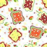 Seamless vector hand drawn childish pattern, border with fruits. Cute childlike pomegranate with leaves, seeds, drops. Doodle, ske Royalty Free Stock Photos