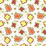 Seamless vector hand drawn childish pattern, border with fruits. Cute childlike pomegranate with leaves, seeds, drops. Doodle, ske Royalty Free Stock Image