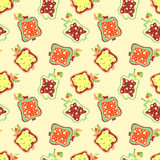 Seamless vector hand drawn childish pattern, border with fruits. Cute childlike pomegranate with leaves, seeds, drops. Doodle, ske Stock Photo