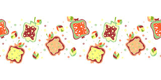Seamless vector hand drawn childish pattern, border with fruits. Cute childlike pomegranate with leaves, seeds, drops. Doodle, ske Stock Photos