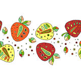 Seamless vector hand drawn childish pattern, border, with fruits. Cute childlike strawberries with leaves, seeds, drops. Doodle, s Royalty Free Stock Image