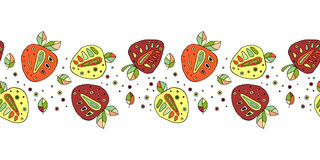 Seamless vector hand drawn childish pattern, border, with fruits. Cute childlike strawberries with leaves, seeds, drops. Doodle, s Royalty Free Stock Photos
