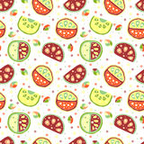 Seamless vector hand drawn childish pattern, border, with fruits. Cute childlike watermelon with leaves, seeds, drops. Doodle, ske Royalty Free Stock Images