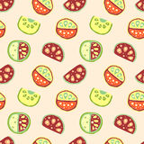 Seamless vector hand drawn childish pattern, border, with fruits. Cute childlike watermelon with leaves, seeds, drops. Doodle, ske Royalty Free Stock Image
