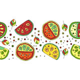 Seamless vector hand drawn childish pattern, border, with fruits. Cute childlike watermelon with leaves, seeds, drops. Doodle, ske Royalty Free Stock Photo