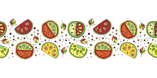 Seamless vector hand drawn childish pattern, border, with fruits. Cute childlike watermelon with leaves, seeds, drops. Doodle, ske. Tch, cartoon style background Stock Photography