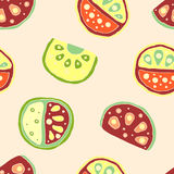Seamless vector hand drawn childish pattern, border, with fruits. Cute childlike watermelon with leaves, seeds, drops. Doodle, ske Royalty Free Stock Photos