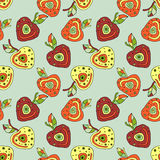 Seamless vector hand drawn childish pattern with fruits. Cute childlike cherry with leaves, seeds, drops. Doodle, sketch, cartoon Royalty Free Stock Images
